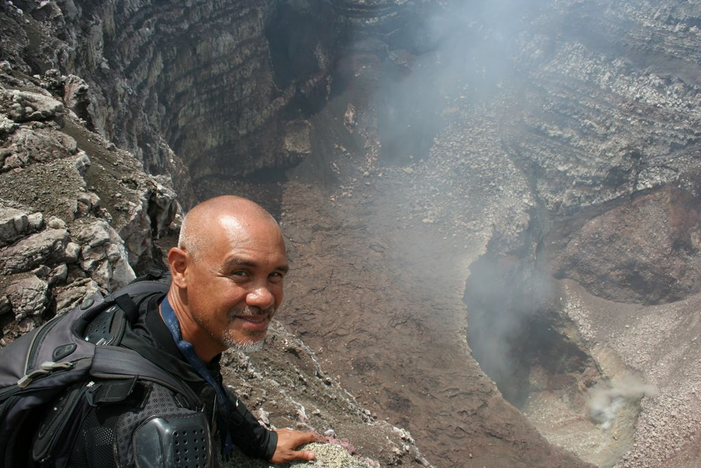 Looking down into the mouth of the Masaya Volcano in Nicaragua